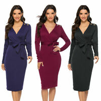 Women's Casual V Neck Long Sleeve Bodycon Party Club Wrap Office Pencil Dresses