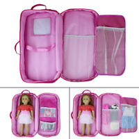 Doll Travel Carrier Suitcase Carry Bag Storage Case for America 18'' Girl Doll