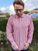 "Paul Costelloe 15"" Red & White Stripe Shirt Men's Smart Casual Long Sleeve"
