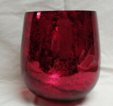 Red and Gold Glass Hurricane Candle jar