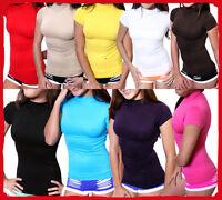 Women Seamless Stretch Short Sleeve Mock Neck Turtleneck Blouse Top one size $$
