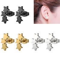 Men Women Silvery Stainless Steel Star Carved Ear Stud Earrings Piercing Nimble