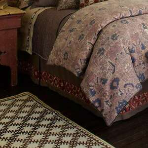 """Upstairs Dransfield & Ross Antalya Embroidered King Bedskirt Brown 22"""" Drop"""