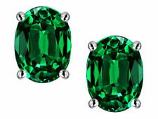 1 ct. Oval Emerald Stud Earrings in Sterling Silver ~ MAY BIRTHSTONE