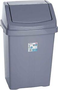 Wham Plastic Swing Bin Rubbish Home Kitchen Office Dustbins 25L (Silver/Grey)