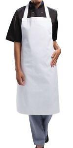 White Bib Apron Large Size Chefs Butchers Heavy Duty 90x 100cm long ties 80cm