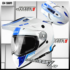 CASCO MOTO ENDURO NAKED MOTARD  JUST1 J34 SHAPE NEON BLUE TAGLIA M (57 - 58)