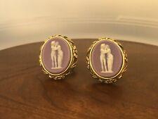 Vintage DANTE Museum Masterpiece Cameo Incolay Cufflinks Lovers Mythology Purple