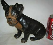 Antique Spencer Usa Cast Iron Boston Terrier Dog Art Statue Wedge Type Doorstop