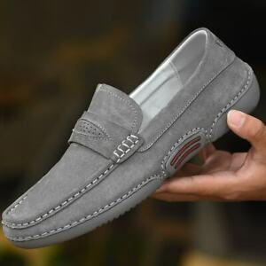 Mens Fashion Casual Slip On Soft Shoes Faux Suede Driving Moccasins Flats Shoes
