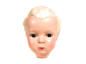 """Vintage celluloid head, Schildkröt, turtle mark """"Hans"""", doll size 45 cm (17.75"""")"""
