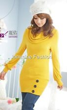 Women's Winter Long Sleeve Knitted yellow Dress Size 8