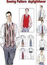Men Dress Shirt L/S S/S Vest Tie Bow Sewing Pattern 2447 New Size S-L #v