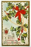 Old Christmas new year greetings postcard antique divided embossed wishbone 1910