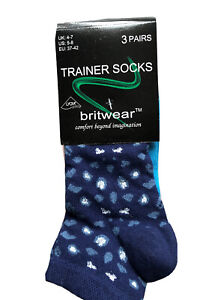 Ladies Trainer Ankle Socks 3 PAIRS Mixed Colours/Patterns 4-7 UK/37-42EU BNWT