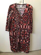 H&M Dress Or Long Coat SiZe L 12 Rusty Black Beige Tribal Geometric