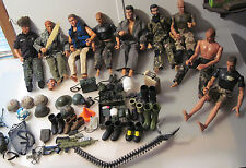 """Large Lot G.I.Joe & Other 12"""" Action Figures + Accessories Clothes Boots Helmets"""