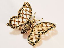 St. John Gold Plated Openwork Crystal Accent Butterfly Brooch