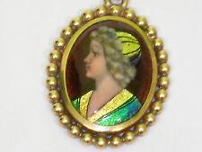"""Pendentif émaux de limoges signné R. Philippon  """" Gold """" or jaune 18 carat"""