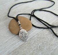 """Black CORD St Michael Archangel Medal Pendant Necklace 30"""" ITALY Confirmation"""
