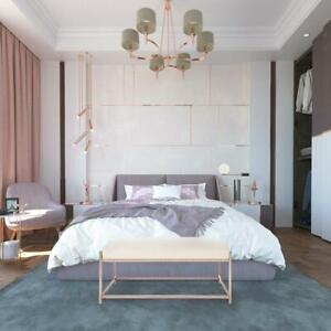 Velvet Bench Seat Stool Gold Metal Frame Rectangular Bedroom Ottoman Footstool