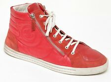 CHANEL Men's Red Sneaker Suede Nylon High Top Silver Zipper HW Sz 44