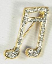 Brooch Semi Quavers Music Notes Crystals Musical Gift Present Pin Badge