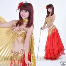 Brand New Sexy Belly Dance 2 Pcs Costume Bra & Belt Red/Gold Handmade