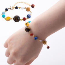 Handmade Galaxy Solar System Eight Planets Theme Natural Stone Beaded Bracelet3c