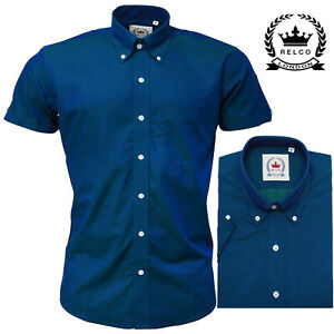 Relco Men's Blue Green Two Tone Tonic Short Sleeve Button Down Mod Skins Shirt