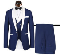 Blue/White Groom Formal Wedding 3 Pieces Tuxedos Shawl Lapel Prom Dinner Suit