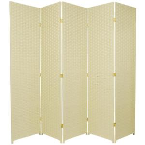 Oriental Furniture Room Divider 6 ft Freestanding Mount Wood Frame Cream 5-Panel