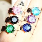 925 Silver Filled Multi Sapphire Birthstone Engagement Wedding Rings Size 5-12