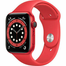 Apple Watch Series 6 44mm Aluminum Case Red Sport Band Smart Watch - (M07K3LL/A)