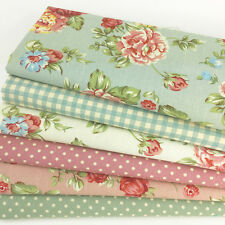 Floral & polka dot 100% cotton canvas fabric fat quarter bundle for sewing