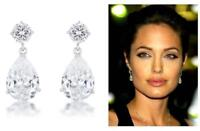 6.7 TCW Chandelier Pear CZ Bridal Cocktail Anniversary Dangle Drop Post Earrings