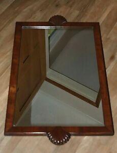 "Art Deco Walnut Wood Framed  Wall Mirror with Shell Ends. 27 "" x 17"""