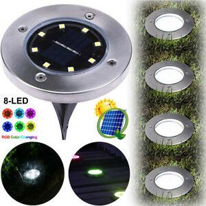 4/8/16pc 8-LED Solar Ground Light Outdoor Yard Floor Garden Waterproof Disk Lamp
