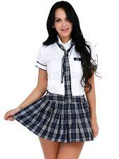 Sexy Women School Girl Sailor Fancy Dress Costume Uniform Plaid Skirt Lingerie L
