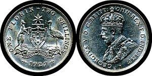 1927 Australia Florin coin  (Choice UNC)