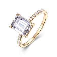 Engagement & Wedding 14K Yellow Gold Cushion 8x6mm White Topaz Real Diamond Ring