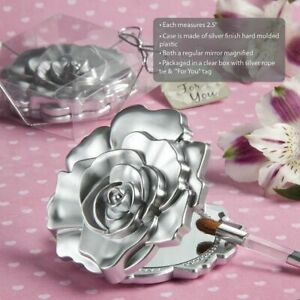 25-120 Silver Rose Design Mirror Compact - Wedding Shower Party Favors