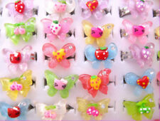 BULK 200pcs Mixed Butterfly Kids Rings FREE POST