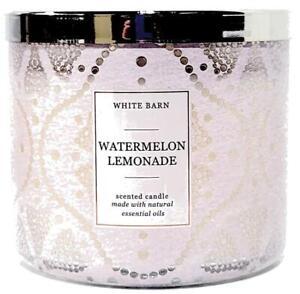 Bath & Body Works Watermelon Lemonade Lace Glass Style Jar3 Wick Candle