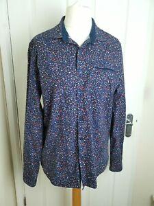 Men's Denim And Flower Size Large Slim Fit Blue Red Floral Long Sleeved Shirt