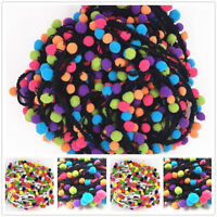 1/5Yard Rainbow Pom Pom Lace Tassel Trim Balls Fringe Ribbon Cord DIY Craft 3CM