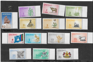 KINGDOM OF LESOTHO - MINT SET OF 1971 DEFINITIVE STAMPS PRODUCTS & SIGHTSEEING