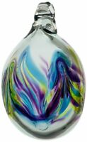Kitras Mini Easter Egg Glass Ornament, Blue/Lime