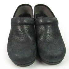 DANSKO Dark Blue Navy Suede Clogs Shoes 38 Womens 7.5-8 Cut-Out Mosaic Floral