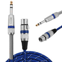 """XLR Female to 1/4"""" 6.35mm TRS Male Balanced Stereo Audio Mic Microphone Cable 1m"""